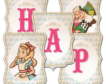 Alice in Wonderland, Happy Birthday Banner, Instant Download, Print Your Own