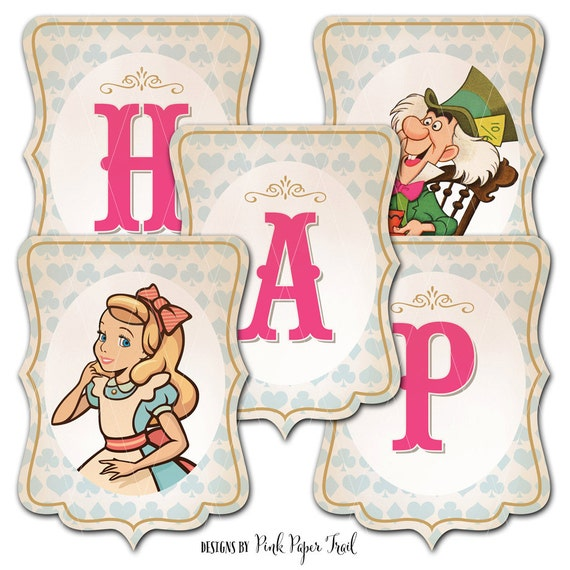 Alice In Wonderland Happy Birthday Banner Instant Download