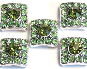 Five 2 Hole Slider Beads 2 Hole Spacer Beads Antiqued Silver Plated Square Olivine Green & Peridot Green Crystals Double Hole Crystal Beads