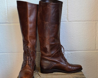 Vintage Cole Hann Boots Leather Riding Boots Beautiful Brown Leather Boots Lace at Front Ankle Flat Heel Lovely Dark Brown Size 8AA Narrow