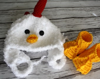Baby Hat - Chicken Hat and Booties Set - Baby Hat -  Baby Chicken Hat -  Chicken Hat - Soft Baby Costume Hat - by JoJosBootique