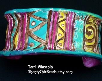 TRIBAL  -  Handmade Polymer clay Cuff Bracelet