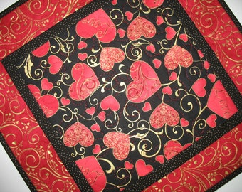Valentine Table Topper  Hearts on black. quilted,  fabric from Hoffman