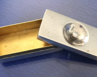 Lovely Streamlined Art Deco Silver Pill Box c 1920