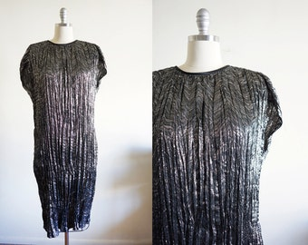 Vintage Metallic Crinkled Pleats Dress / S M / Avant Garde / High Fashion