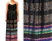 Vintage Black Sequin Maxi Skirt by Jack Bryan Size Medium// Vintage Metallic Maxi Skirt with Sequin Stripes Black Gold
