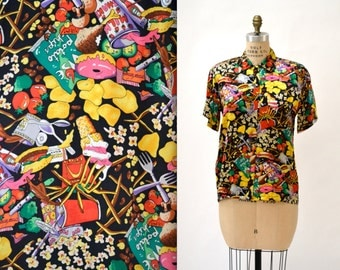 90s JUNK Food Print Vintage Nicole Miller Silk Shirt Size Small Medium