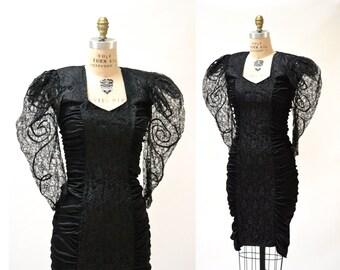 Black 80s Prom Dress Size Small Medium// Vintage 80s Prom Dress in Black Lace size Small Medium// Vintage Black Body Con Dress