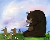 8x10 Bear and Rabbit Print Nursery Wall Art Childrens Room Decor Kids Nursery Woodland Decor Cute Whimsical Reading Animal