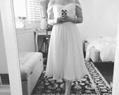 Short Beth wedding dress-tea length custom A-line sweetheart neck with adjustable lace up back-city hall wedding dress-beaded