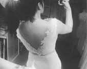 Short Emily Boat neck Dress - Light Ivory Boat neck Lace Tulle Short city hall Wedding Dress-made to order