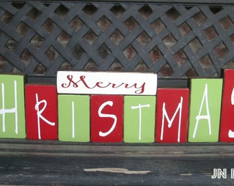 Merry Christmas wood block- CHRISTMAS painted blocks- XL set(BRIGHT)
