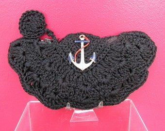 1940s Black Corde Change Purse with Enamel Anchor VINTAGE Black Macrame Bag with Zipper