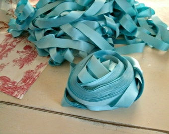 30 yards AQUA SATIN ribbon vintage french supply 3/4 in