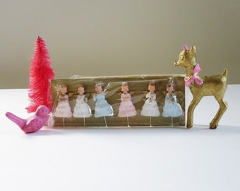 Vintage Glitter Angel Pics for Holiday Crafts, Holiday Christmas Xmas Wreath Supplies, Kitsch Mini Glitter Angels Pink Blue White
