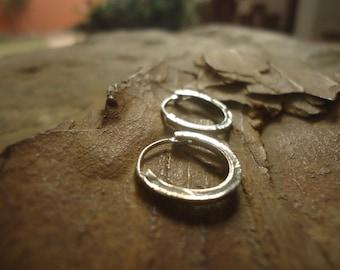 MINI HOOP earrings creoles STRUCTURED - small earrings (1723)
