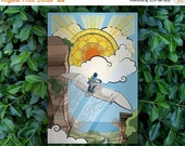 GEEKLOVE SALE Child of Light // Nausicaa of the Valley of the Wind Alternate Movie Poster // Studio Ghibli Stained-glass, Glider and Sunset