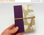 MOVING SALE Refillable Pocket Journal, Notebook, Sketchbook, Gingko with Suede Cord and Interior Pocket