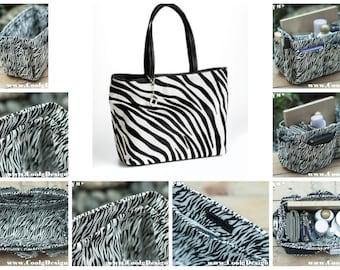 Purse organizer insert multi-pocket for handbag black white zebra Large 25x10 cm
