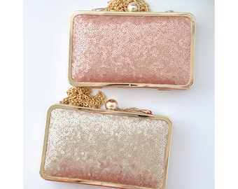 CHAMPAGNE - BLUSH - sequin - petite box clutch - Bridal/Bridesmaids/Flower girl/Prom/Cocktail