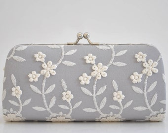 Light Gray - Small Lacely Clutch - Wedding clutch- PETITE cocktail clutch - Shabby chic