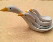 Vintage PORCELAIN Stackable Geese Measuring Spoons by Avon