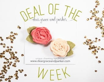 Deal of the Week || Felt Flower Clips or Headbands || Pick Your Colors