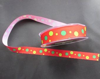 5 Yards   - 355-14 Red/Green/Parrot Green Grosgrain Ribbon