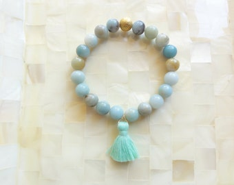Smooth Multi-Colored Amazonite Round Bead Stretch Bracelet with Mint Cotton Tassel (B1195)