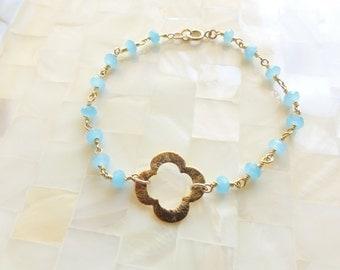 Clover Quatrefoil Vermeil Connector on Faceted Blue Chalcedony Rondelle Vermeil Wire Wrapped Chain Bracelet (B1161)
