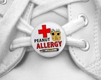 PEANUT ALLERGY EpiPen Medical Alert Pair of 1 inch Shoe Tag Charm