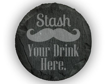 Coasters Slate Round Set of 4 - 10272 Stash Your Drink Here