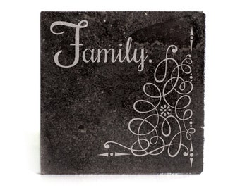 Coasters Set of 4 - black granite laser - 9927 Family