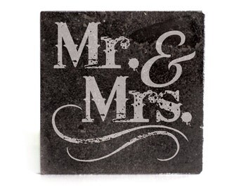 Coasters Set of 4 - black granite laser - 9943 Mr & Mrs
