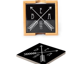 Ceramic Coasters with wooden holder Set of 4 - 2084 Two Arrows Crossing Design Personalized with Monogram and date