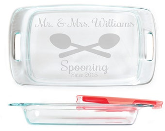 Engraved Personalized Pyrex Glass Casserole Dish With Lid 9 X