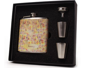 Flask for Women, Faded Floral Design HD02