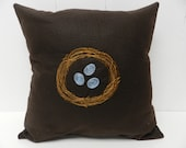 Nest Eggs Pillow Cover. 16 inch. Spring. Brown and Blue Woodland. Nest and Eggs. Spring decor. Nature. Bird nest. Decorative pillow cushion.