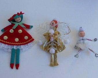 vintage ice princess, snowflake girl, Christmas spun head girls ornaments