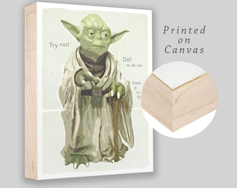 "Yoda Wisdom - Star Wars character - Box Frame canvas print - 8""x10"" - Star Wars  - Boys room decor - Starwars fan gift - Ready to hang!"