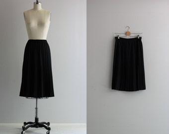 Black Pleated Skirt . Satin Midi Skirt . Vintage Pleat Skirt