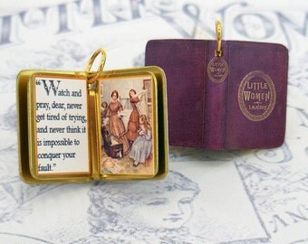 Little Women by Louisa May Alcott - Miniature Book Charm Quote Pendant- for charm bracelet or necklace.