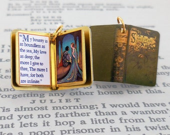 Romeo and Juliet by William Shakespeare - Miniature Book Charm Quote Pendant - for charm bracelet or necklace. Custom available!