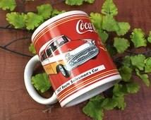 Coca Cola 1957 Salesman Route coffee mug with 1950's car-Coca Cola mug,1950s car mug, car lover,Coca Cola lover, novelty mug