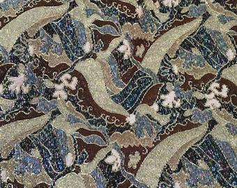 "Vintage Metallic Brown and Gold Brocade Fabric 46"" Wide PRICE PER YARD- metallic fabric,evening fabric, costume fabric,brocade fabric"