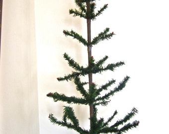 Feather Christmas Tree Large Antique Goose Feathers Original Stand 43 in tall