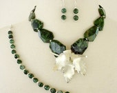 Emerald Green Layered Statement Necklace Set, 4 Piece Set, Artisan Necklace, Repurposed Brooch Necklace, Long Necklace, Gemstone Necklace