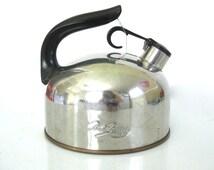 Vintage Mid Century Stainless Paul Revereware Whistling Tea Kettle