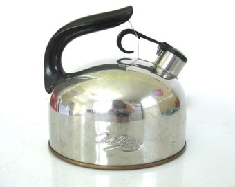 Vintage Mid Century Stainless Paul Revereware Whistling Tea Kettle