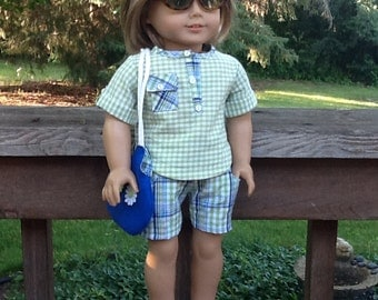 18 Inch Doll Clothes Green and Blue Shorts Outfit with Purse, Sunglasses and Sandals for dolls like American Girl